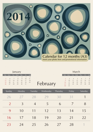 a3: February. 2014 Calendar. Times Optima fonts used. A3