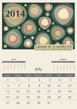 a3: July. 2014 Calendar. Optima fonts used. A3