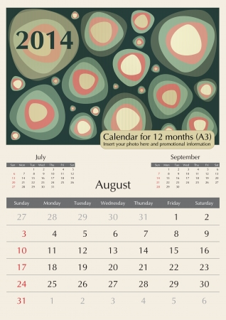 a3: August. 2014 Calendar. Optima fonts used. A3 Illustration