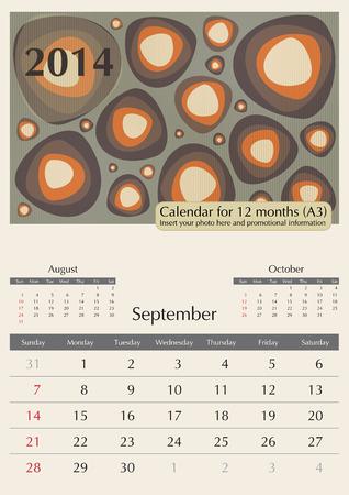 September. 2014 Calendar. Optima fonts used. A3 Vector