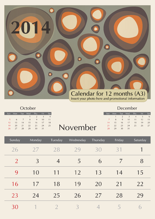 November. 2014 Calendar. Optima fonts used. A3 Vector