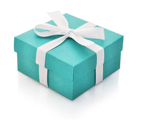 blue gift box: Blue gift box with white ribbon isolated on white background. Clipping path included.