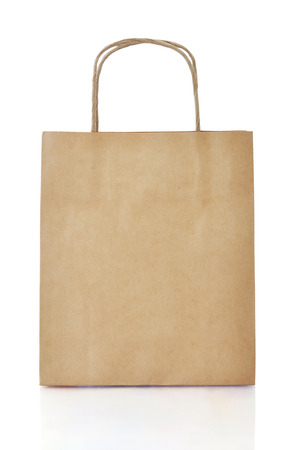 Paper brown  shopping bag isolated on white background. Clipping path included Reklamní fotografie