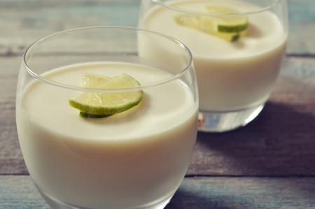 Italian dessert panna cotta with fresh lime in glass closeup photo