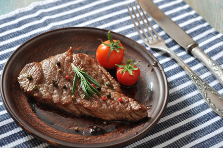 Grilled steak  on plate  with tomatoes, spices and rosemary closeup Stock Photo - 23949035