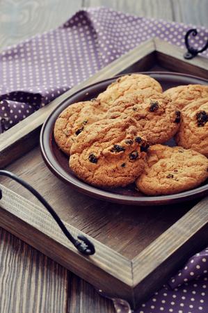 chocolate chip cookies: Chocolate chip cookies on plate with polka dot napkin