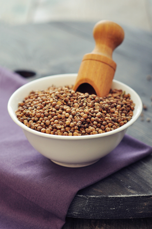 coriander seeds: Coriander seeds in ceramic bowl closeup