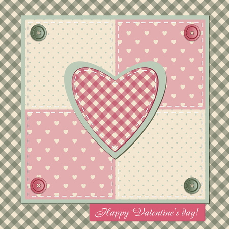 Valentines Day card in patchwork style