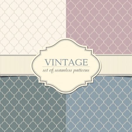 Set of seamless geometric patterns with vintage frame Illustration