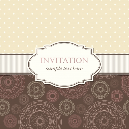 Template of invitation with seamless geometric patterns and vintage frame Vector