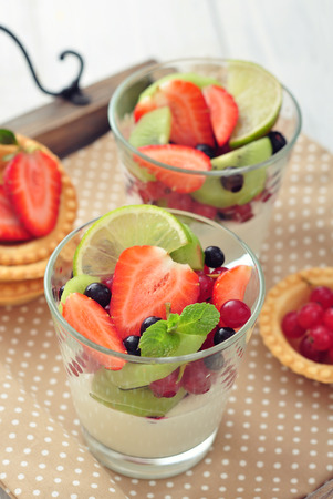 mix fruit: Dessert with yogurt and fresh berries in glass closeup