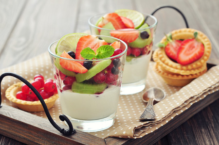 Dessert with yogurt and fresh berries in glass closeup photo