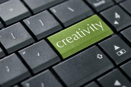 key words art: Word creativity  on button of computer keyboard closeup.  Stock Photo