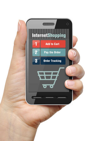 Mobile phone in female hand with internet shop app photo