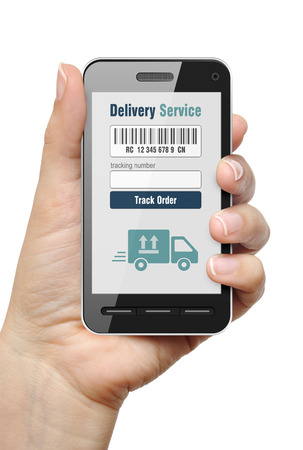 order shipment: Mobile phone with Order Tracking app in female hand Stock Photo