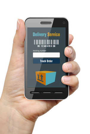 Mobile phone with Order Tracking app in female hand photo