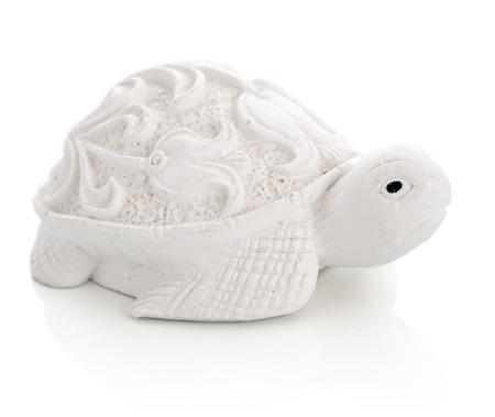 Ceramic figurine of turtle isolated on white background photo