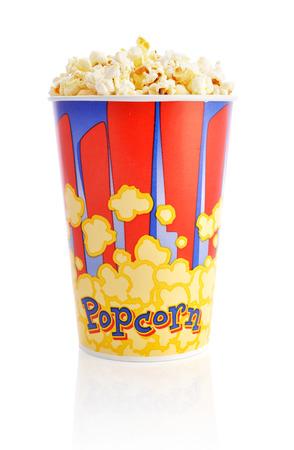 bowl of popcorn: Popcorn bucket isolated on a white background