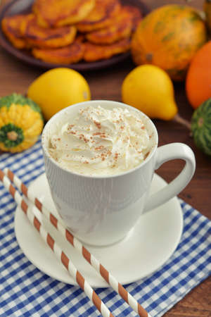 latter: Pumpkin spice latter with whipped cream, cinnamon and decorative pumpkins Stock Photo