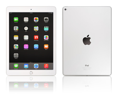KIEV, UKRAINE - JANUARY 29, 2015: Brand new white Apple iPad Air 2, 6th generation of the iPad, developed by Apple inc. and was released on October 16, 2014 에디토리얼