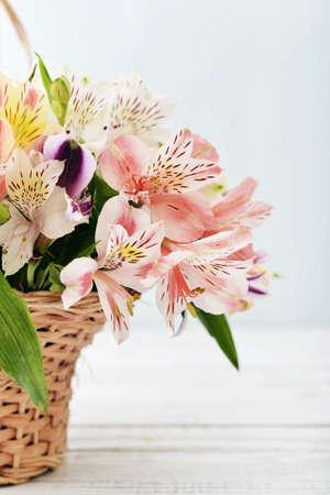 alstroemeria: Bouquet alstroemeria in wicker basket  on light blue background