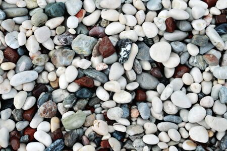 pebbles: Colorful wet sea stones on beach, top view