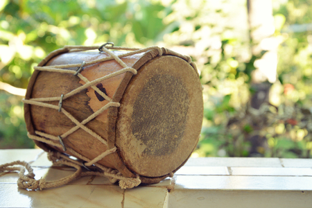 Traditional Indian drum djembe outdoor closeup
