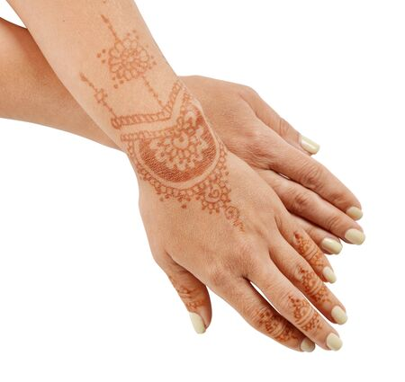 sacral: Woman hand with henna mehendi isolated on white background