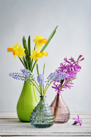 Spring flowers  daffodils, hyacinth and muscari in vases on blue background