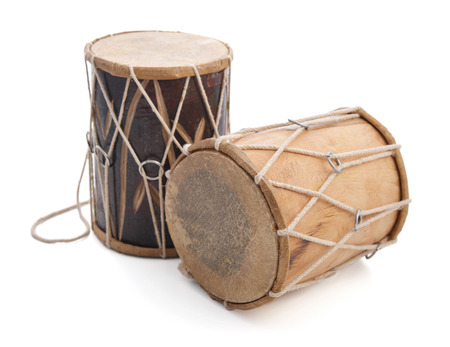 Traditional Indian drums isolated on white background