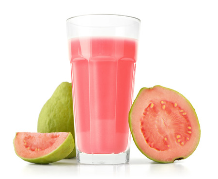 Glass of Guava Smoothie with fresh Guava fruit isolated on white background