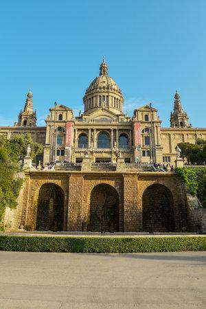 montjuic: Barcelona, Spain - April 15, 2017: National Museum in Barcelona, Placa De Espanya,Spain.