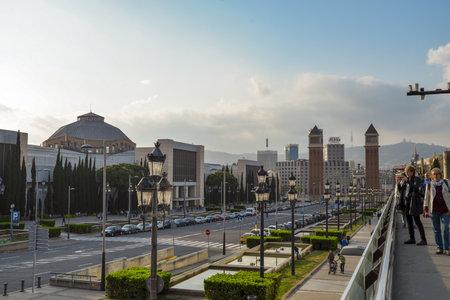 montjuic: BARCELONA, SPAIN - April 15, 2017: Barcelona city panoramic view, Spain. Placa De Espanya