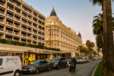 CANNES, FRANCE - April 12, 2017: Luxury hotel Inter Continental Carlton, located on the famous La Croisette Boulevard in Cannes, French Riviera.