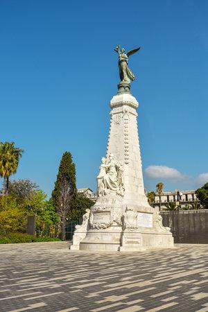 ville: NICE, FRANCE - April 13, 2017: La ville de nice statue dedicated to the city of Nice, France.