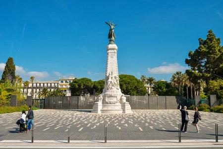 azure: NICE, FRANCE - April 13, 2017: La ville de nice statue dedicated to the city of Nice, France.
