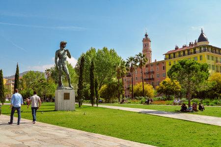 NICE, FRANCE - April 13, 2017: Statue of David at Promenade du Paillon in Nice, France