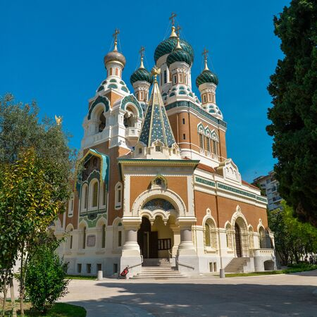 st nicholas cathedral: The St. Nicholas Orthodox Cathedral, Russian orthodox church, Nice, France Stock Photo