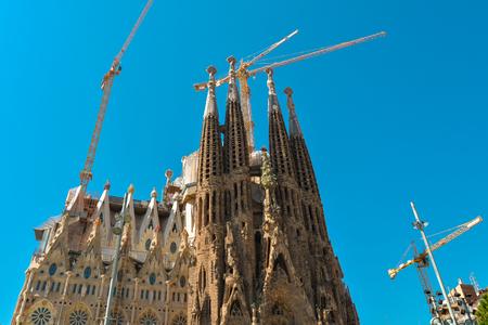 BARCELONA, SPAIN - APRIL 9, 2017: Cathedral Sagrada Familia  in Barcelona, Spain. This impressive cathedral was originally designed by Antoni Gaudi is still being built since 1882.