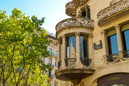 BARCELONA, SPAIN - APRIL 9, 2017: Casa Lleo Morera in Barcelona, Spain. Was built in 1902-1906 by Catalan architect Domenech i Montaner.