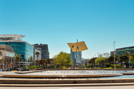 BARCELONA, SPAIN - APRIL 10, 2017: Sculpture David and Goliath in Barcelona in summer daytime