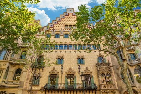 BARCELONA, SPAIN - APRIL 9, 2017: Facade of the Casa Amatller, a building in the Modernisme style in Barcelona, designed by Josep Puig i Cadafalch.