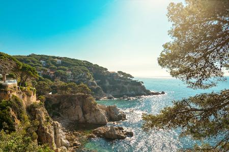 playa: Coast of Lloret de Mar. Costa Brava. Catalonia. Spain. Stock Photo