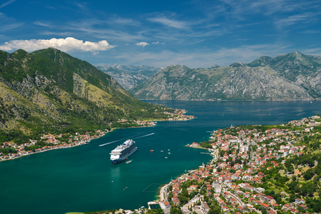 View on Kotor bay and Old Town from Lovcen Mountain. Montenegro.