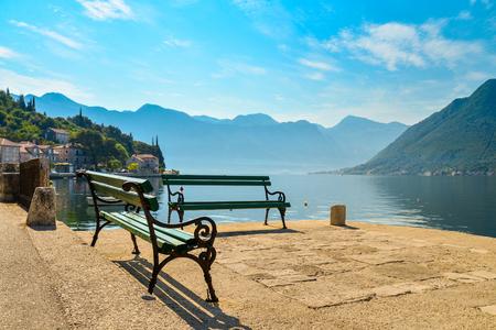 balkans: Benchs on promenade of Perast and View on  Boka Kotorska bay, Montenegro