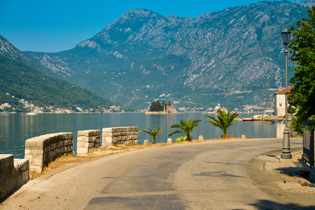balkans: View on Boka Kotorska bay from the promenade of Perast, Montenegro
