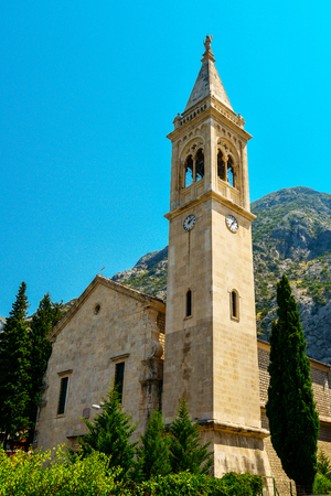 The facade of the church of St. Eustace in Dobrota, Montenegro