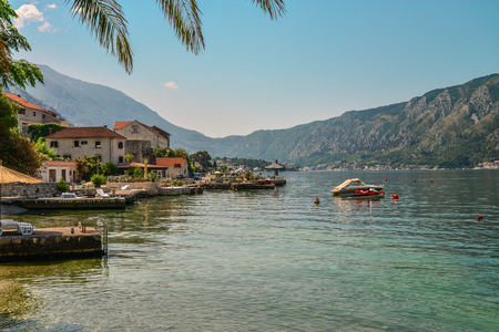 View of Bay of Kotor near Dobrota village in summer day, Montenegro Stock Photo