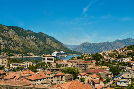 kotor: View on Kotor bay and Old Town from Lovcen Mountain. Montenegro.