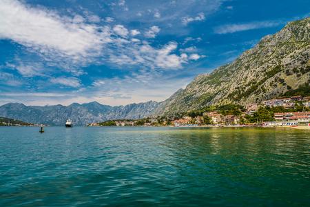 View of Bay of Kotor near Dobrota village in summer day, Montenegro Stock Photo